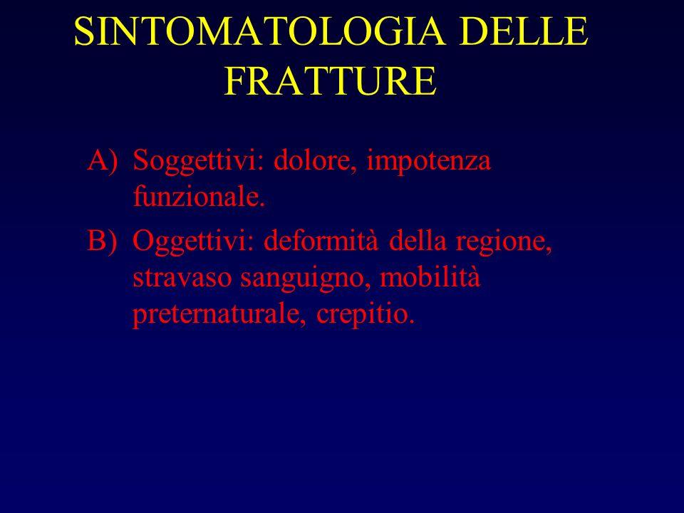 SINTOMATOLOGIA DELLE FRATTURE A)Soggettivi: dolore, impotenza funzionale. B)Oggettivi: deformità della regione, stravaso sanguigno, mobilità preternat