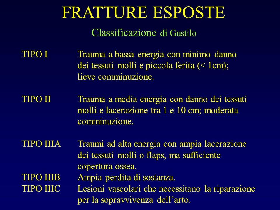 TIPO ITrauma a bassa energia con minimo danno dei tessuti molli e piccola ferita (< 1cm); lieve comminuzione. TIPO IITrauma a media energia con danno