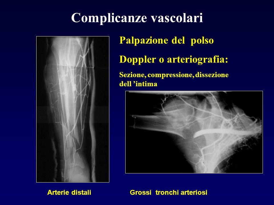 Complicanze vascolari Palpazione del polso Doppler o arteriografia: Sezione, compressione, dissezione dell intima Arterie distali Grossi tronchi arter