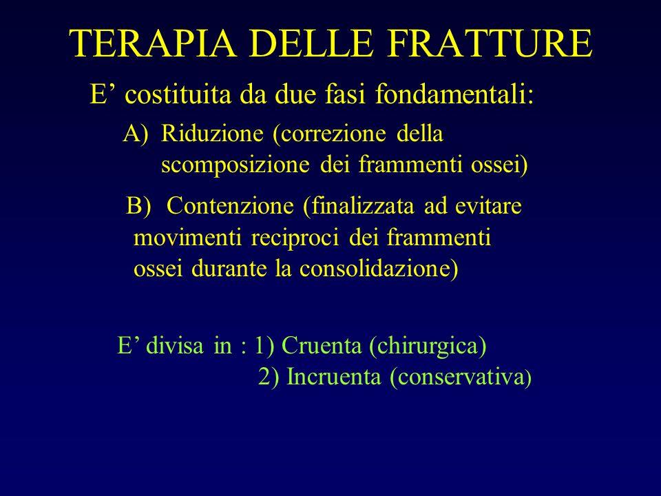 TERAPIA DELLE FRATTURE E costituita da due fasi fondamentali: A)Riduzione (correzione della scomposizione dei frammenti ossei) B) Contenzione (finaliz