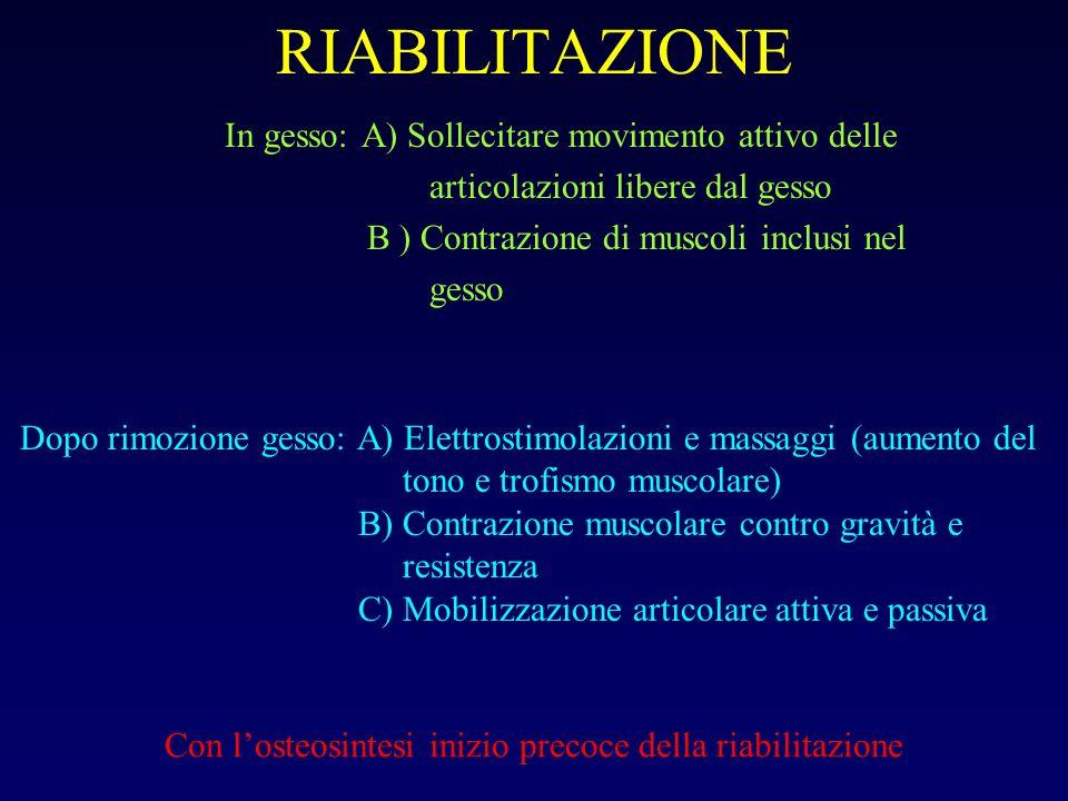 RIABILITAZIONE In gesso: A) Sollecitare movimento attivo delle articolazioni libere dal gesso B ) Contrazione di muscoli inclusi nel gesso Dopo rimozi