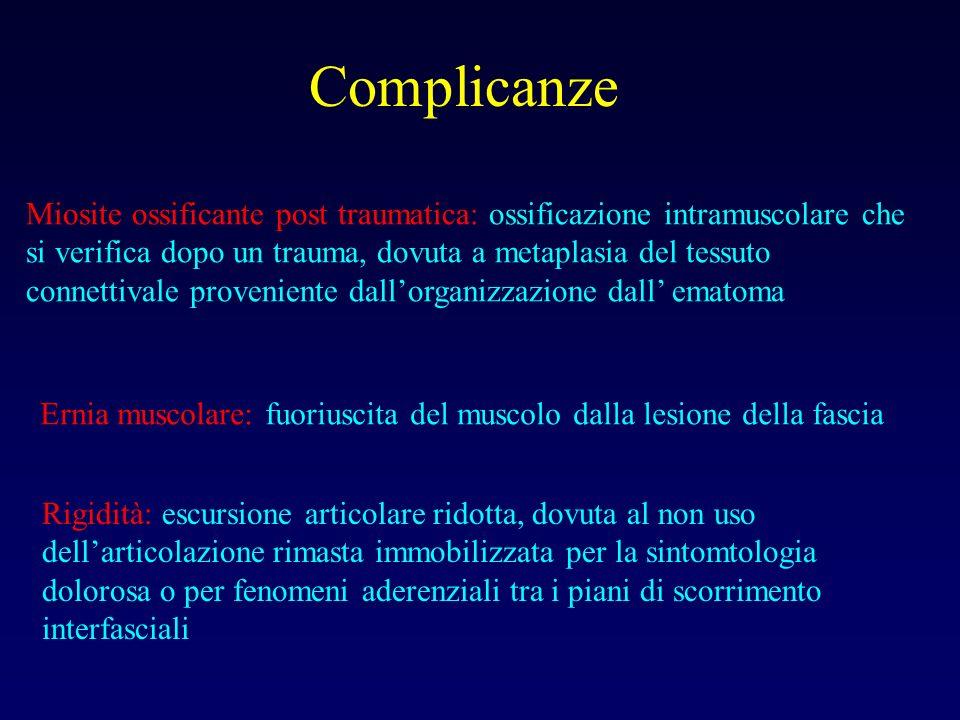 Complicanze Miosite ossificante post traumatica: ossificazione intramuscolare che si verifica dopo un trauma, dovuta a metaplasia del tessuto connetti