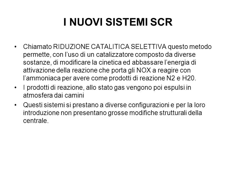 I NUOVI SISTEMI SCR Chiamato RIDUZIONE CATALITICA SELETTIVA questo metodo permette, con luso di un catalizzatore composto da diverse sostanze, di modificare la cinetica ed abbassare lenergia di attivazione della reazione che porta gli NOX a reagire con lammoniaca per avere come prodotti di reazione N2 e H20.