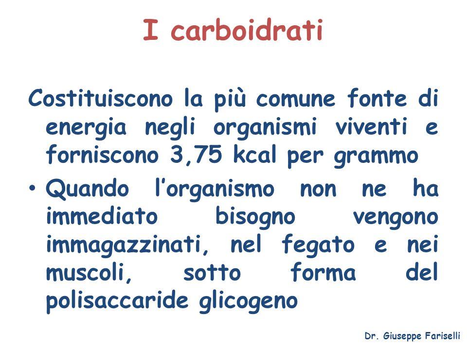 I carboidrati Dr. Giuseppe Fariselli Costituiscono la più comune fonte di energia negli organismi viventi e forniscono 3,75 kcal per grammo Quando lor