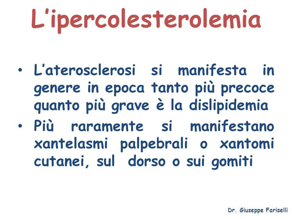 Lipercolesterolemia Dr. Giuseppe Fariselli Laterosclerosi si manifesta in genere in epoca tanto più precoce quanto più grave è la dislipidemia Più rar