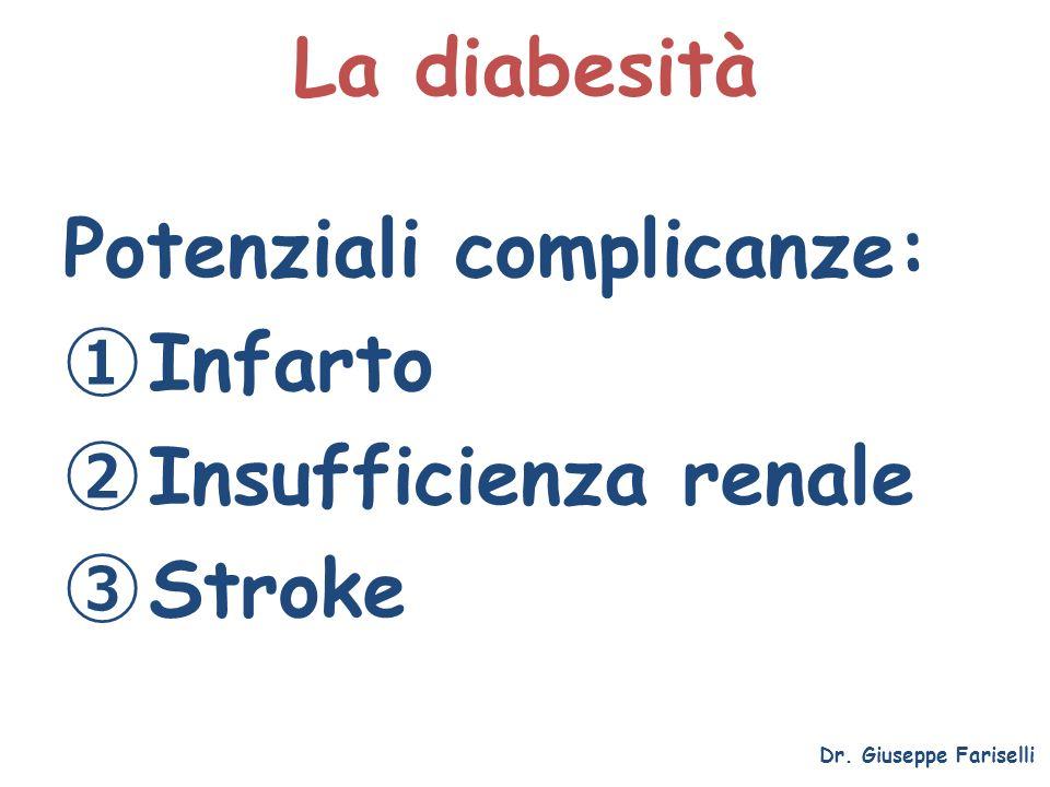 La diabesità Dr. Giuseppe Fariselli Potenziali complicanze: Infarto Insufficienza renale Stroke