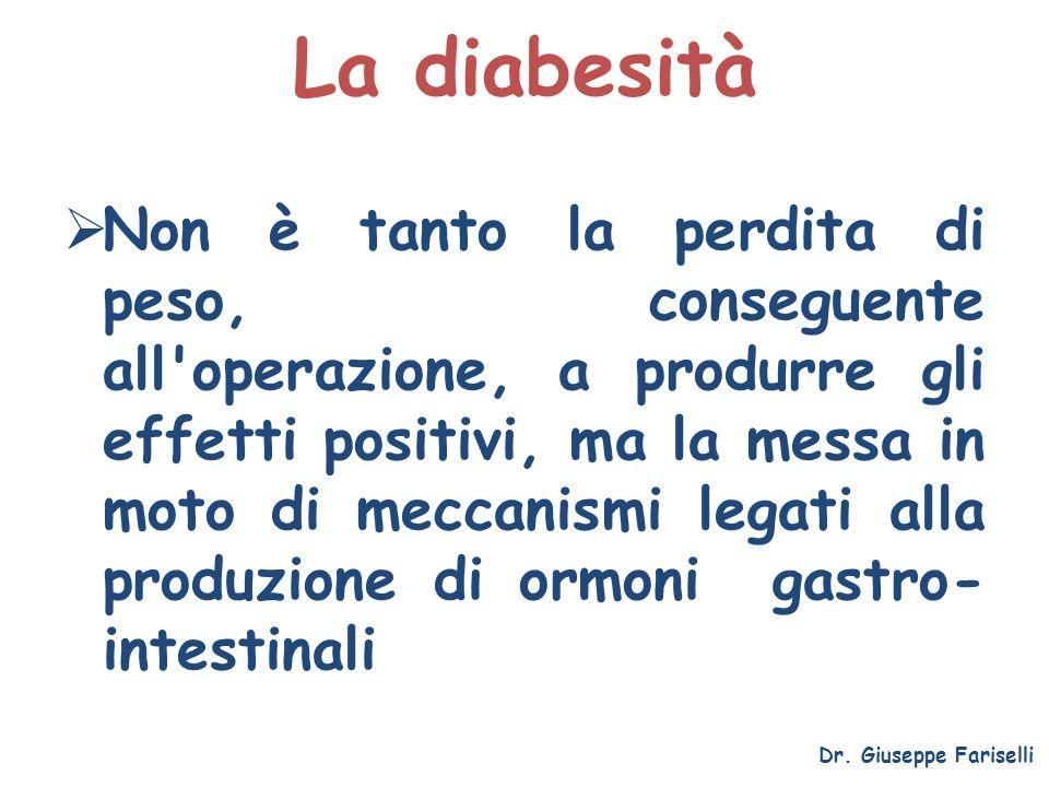 La diabesità Dr. Giuseppe Fariselli Non è tanto la perdita di peso, conseguente all'operazione, a produrre gli effetti positivi, ma la messa in moto d