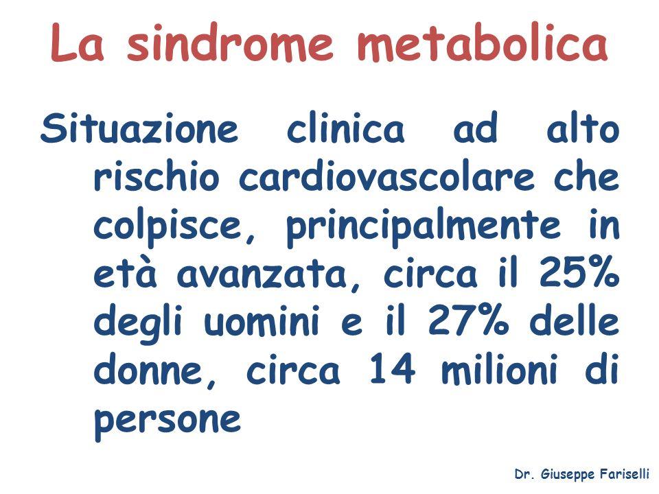 La sindrome metabolica Situazione clinica ad alto rischio cardiovascolare che colpisce, principalmente in età avanzata, circa il 25% degli uomini e il