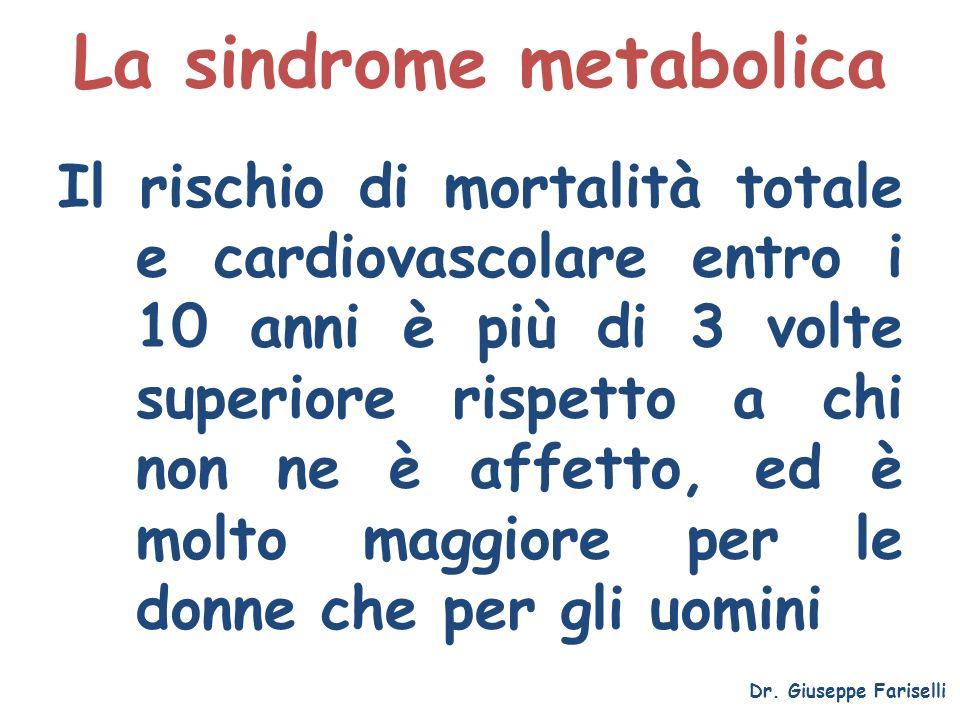 La sindrome metabolica Il rischio di mortalità totale e cardiovascolare entro i 10 anni è più di 3 volte superiore rispetto a chi non ne è affetto, ed