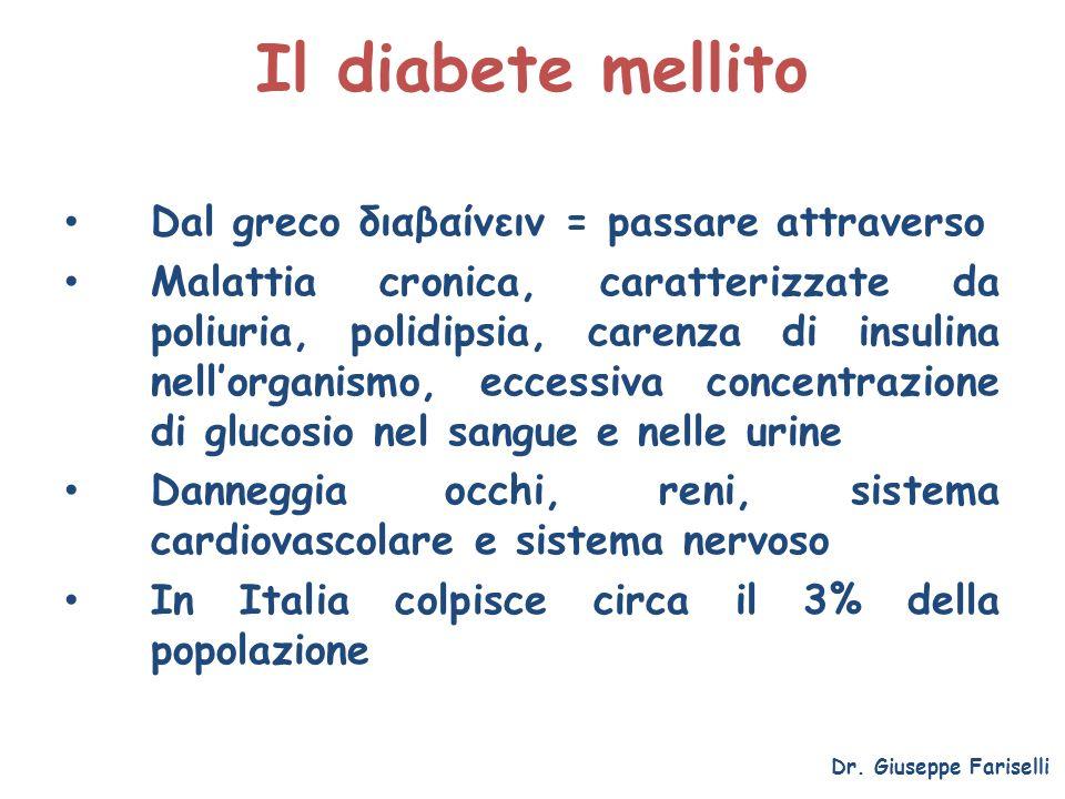 Il diabete mellito Dal greco διαβαίνειν = passare attraverso Malattia cronica, caratterizzate da poliuria, polidipsia, carenza di insulina nellorganis