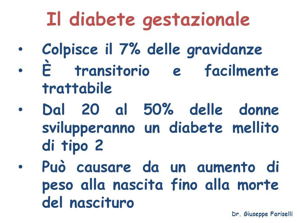 Il diabete gestazionale Colpisce il 7% delle gravidanze È transitorio e facilmente trattabile Dal 20 al 50% delle donne svilupperanno un diabete melli