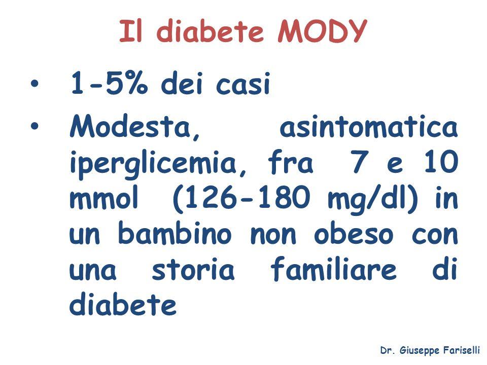 Il diabete MODY 1-5% dei casi Modesta, asintomatica iperglicemia, fra 7 e 10 mmol (126-180 mg/dl) in un bambino non obeso con una storia familiare di