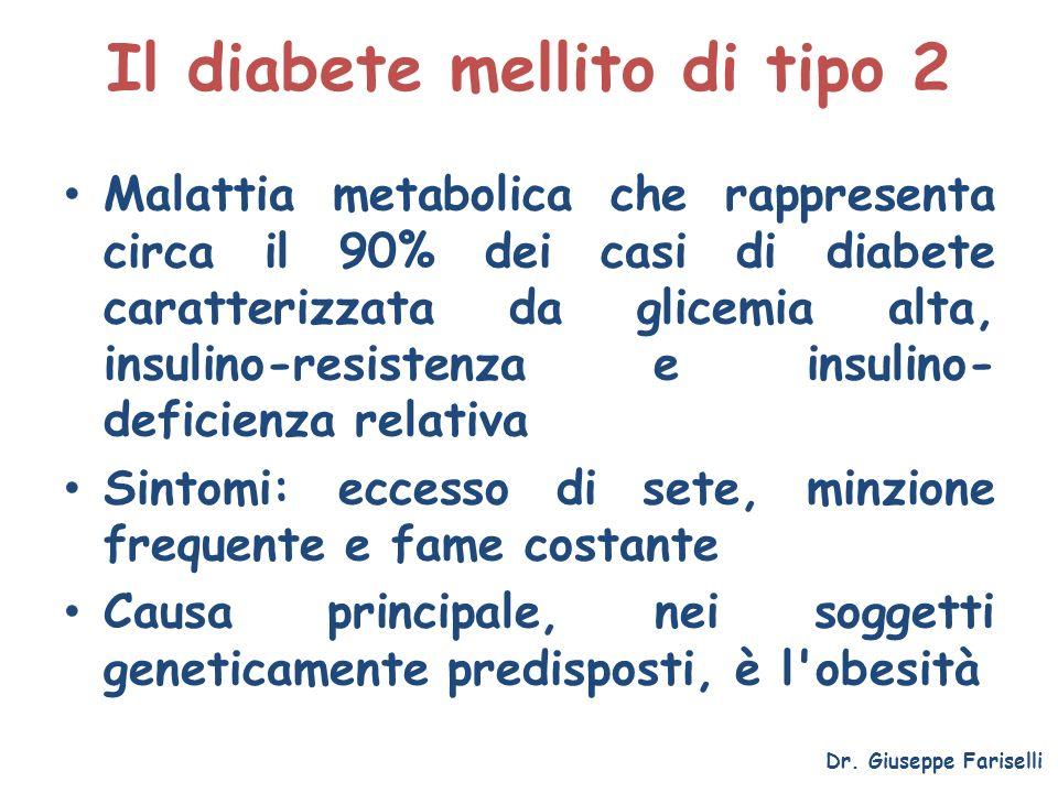 Il diabete mellito di tipo 2 Malattia metabolica che rappresenta circa il 90% dei casi di diabete caratterizzata da glicemia alta, insulino-resistenza