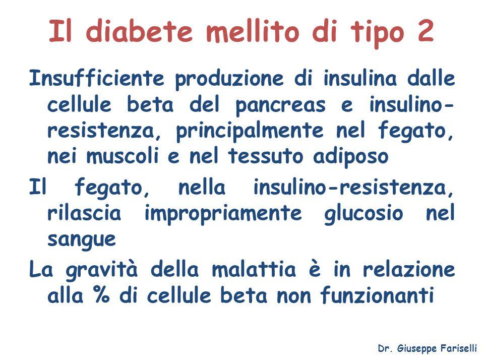 Il diabete mellito di tipo 2 Insufficiente produzione di insulina dalle cellule beta del pancreas e insulino- resistenza, principalmente nel fegato, n