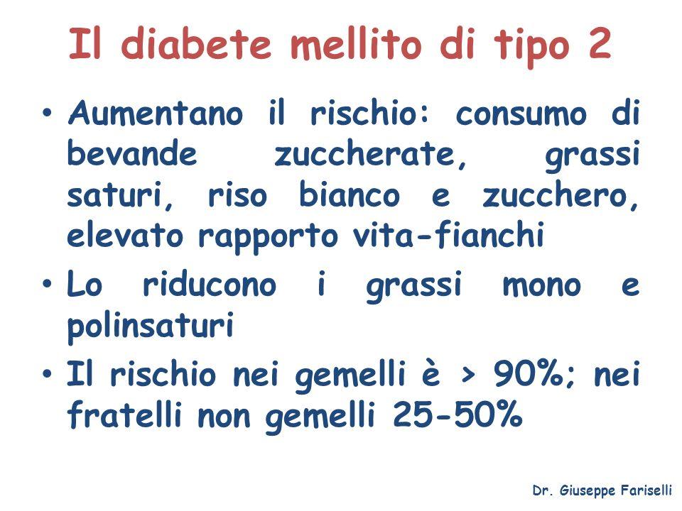 Il diabete mellito di tipo 2 Aumentano il rischio: consumo di bevande zuccherate, grassi saturi, riso bianco e zucchero, elevato rapporto vita-fianchi