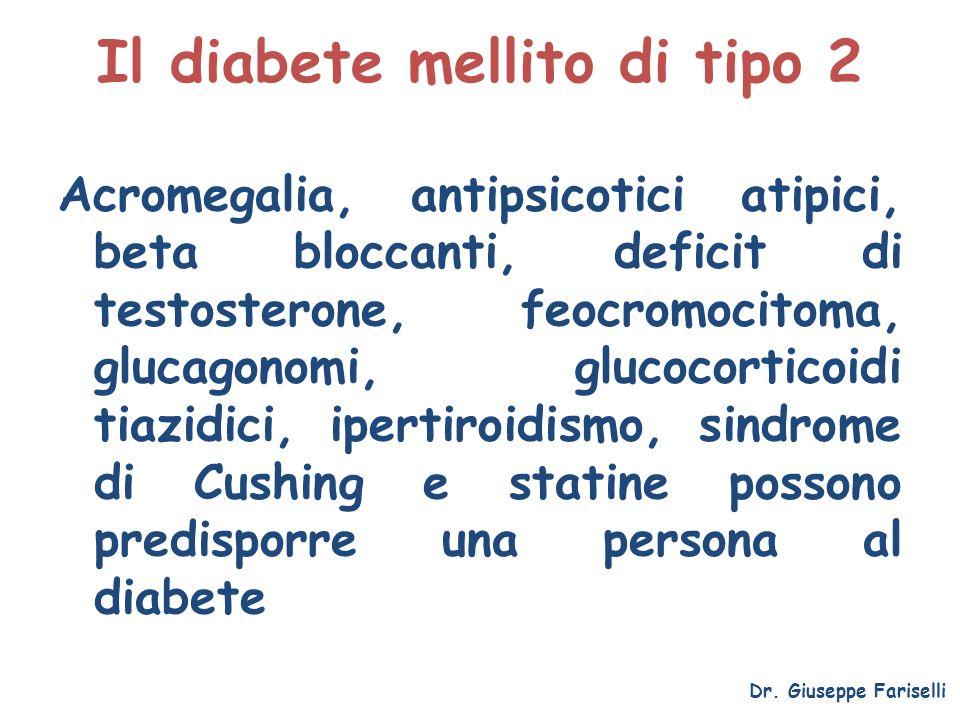 Il diabete mellito di tipo 2 Acromegalia, antipsicotici atipici, beta bloccanti, deficit di testosterone, feocromocitoma, glucagonomi, glucocorticoidi