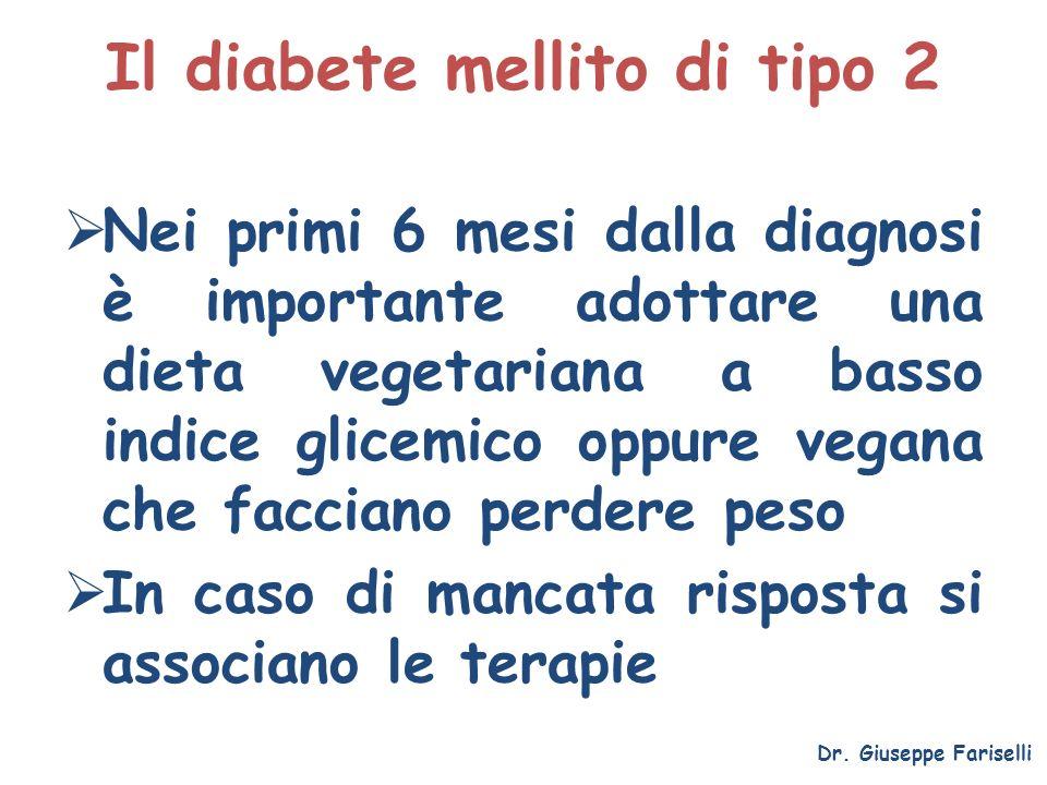 Il diabete mellito di tipo 2 Nei primi 6 mesi dalla diagnosi è importante adottare una dieta vegetariana a basso indice glicemico oppure vegana che fa