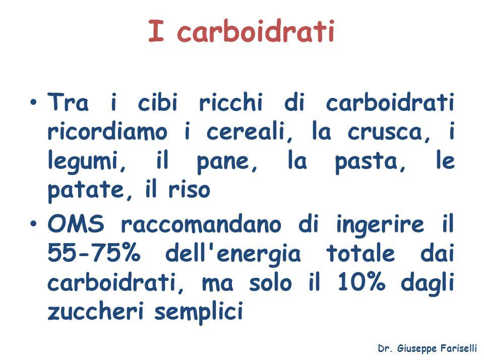 I carboidrati Dr. Giuseppe Fariselli Tra i cibi ricchi di carboidrati ricordiamo i cereali, la crusca, i legumi, il pane, la pasta, le patate, il riso