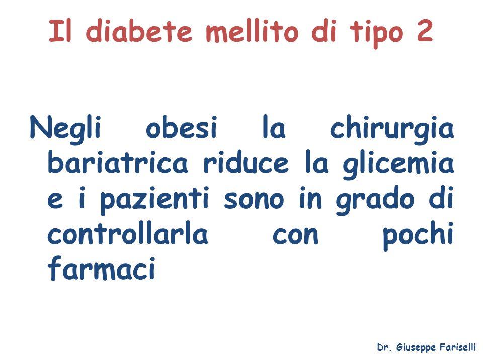 Il diabete mellito di tipo 2 Negli obesi la chirurgia bariatrica riduce la glicemia e i pazienti sono in grado di controllarla con pochi farmaci Dr. G