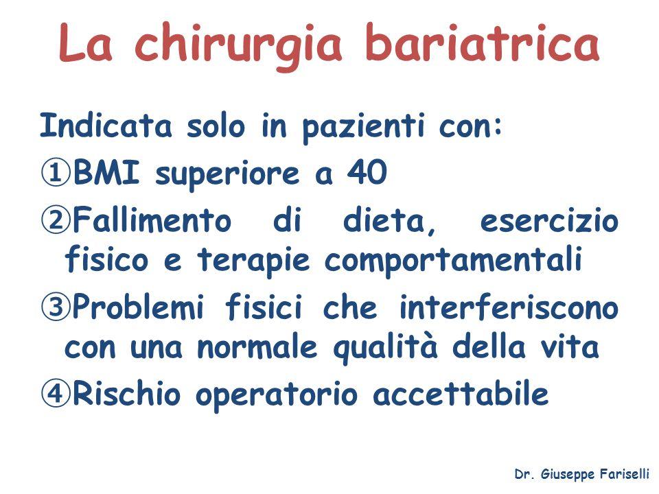 La chirurgia bariatrica Dr. Giuseppe Fariselli Indicata solo in pazienti con: BMI superiore a 40 Fallimento di dieta, esercizio fisico e terapie compo