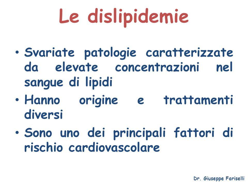 Le dislipidemie Dr. Giuseppe Fariselli Svariate patologie caratterizzate da elevate concentrazioni nel sangue di lipidi Hanno origine e trattamenti di