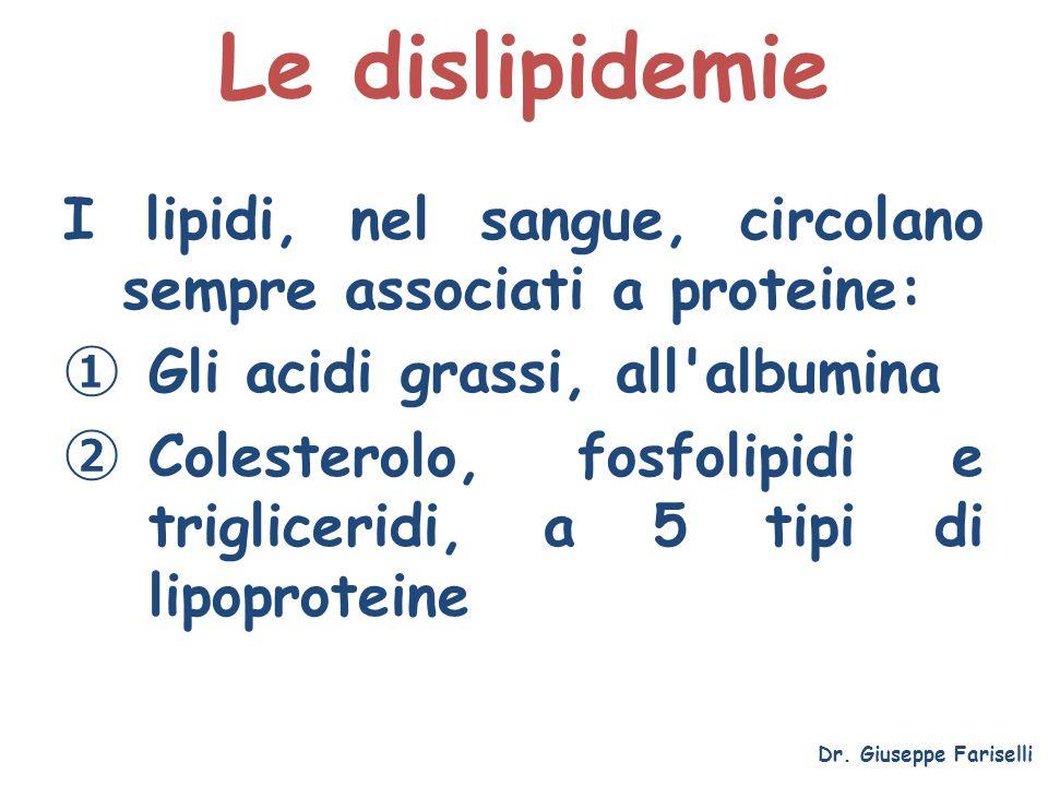 Le dislipidemie Dr. Giuseppe Fariselli I lipidi, nel sangue, circolano sempre associati a proteine: Gli acidi grassi, all'albumina Colesterolo, fosfol