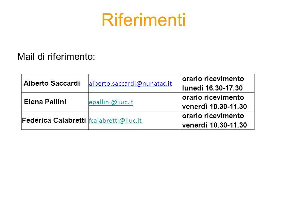 Riferimenti Mail di riferimento: Alberto Saccardi alberto.saccardi@nunatac.it orario ricevimento lunedì 16.30-17.30 Elena Pallini epallini@liuc.it ora