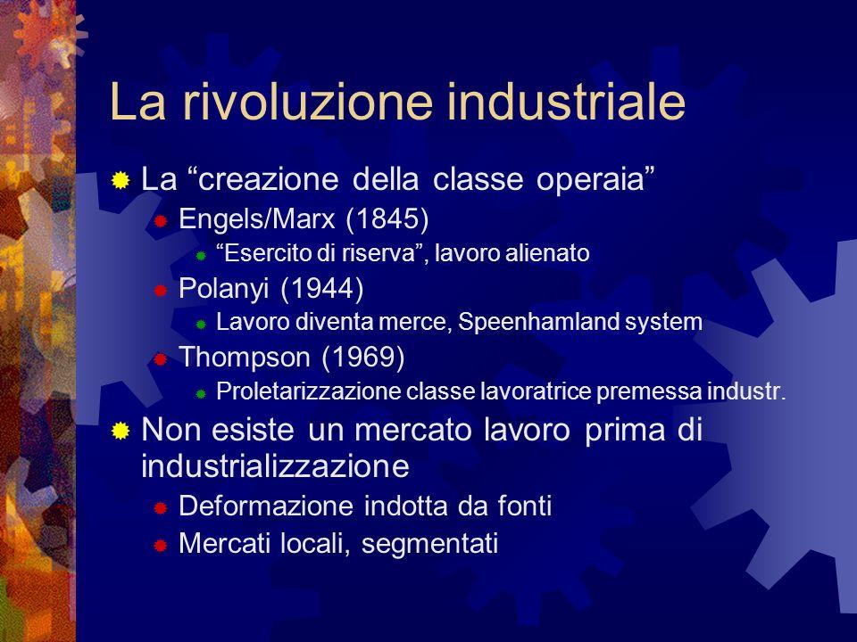 La rivoluzione industriale La creazione della classe operaia Engels/Marx (1845) Esercito di riserva, lavoro alienato Polanyi (1944) Lavoro diventa mer