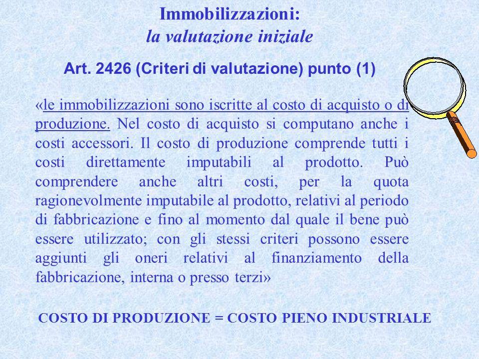 Art. 2426 (Criteri di valutazione) punto (1) «le immobilizzazioni sono iscritte al costo di acquisto o di produzione. Nel costo di acquisto si computa