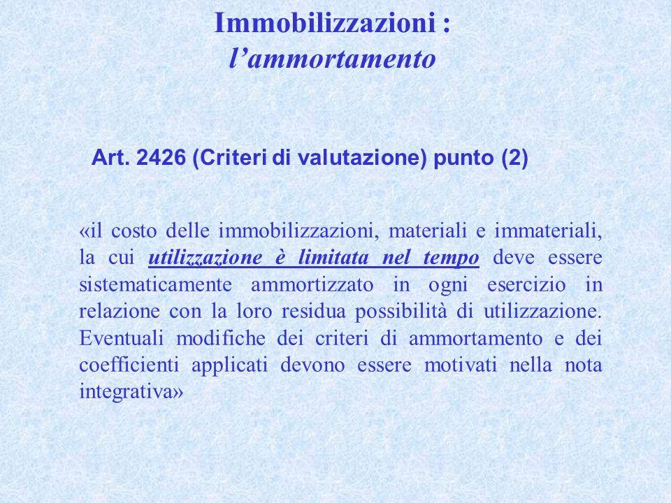 Immobilizzazioni : lammortamento Art. 2426 (Criteri di valutazione) punto (2) «il costo delle immobilizzazioni, materiali e immateriali, la cui utiliz