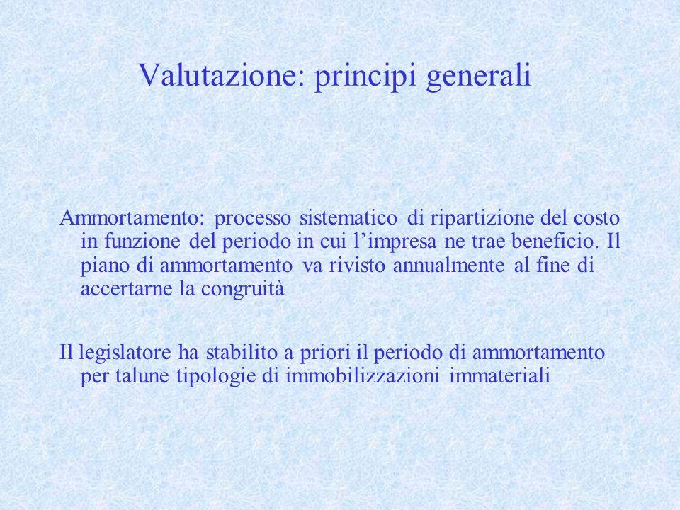 Valutazione: principi generali Ammortamento: processo sistematico di ripartizione del costo in funzione del periodo in cui limpresa ne trae beneficio.