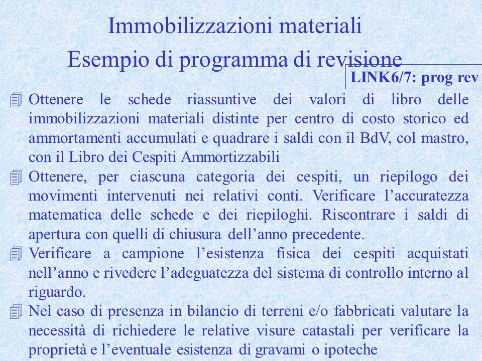 Immobilizzazioni materiali Esempio di programma di revisione 4Ottenere le schede riassuntive dei valori di libro delle immobilizzazioni materiali dist