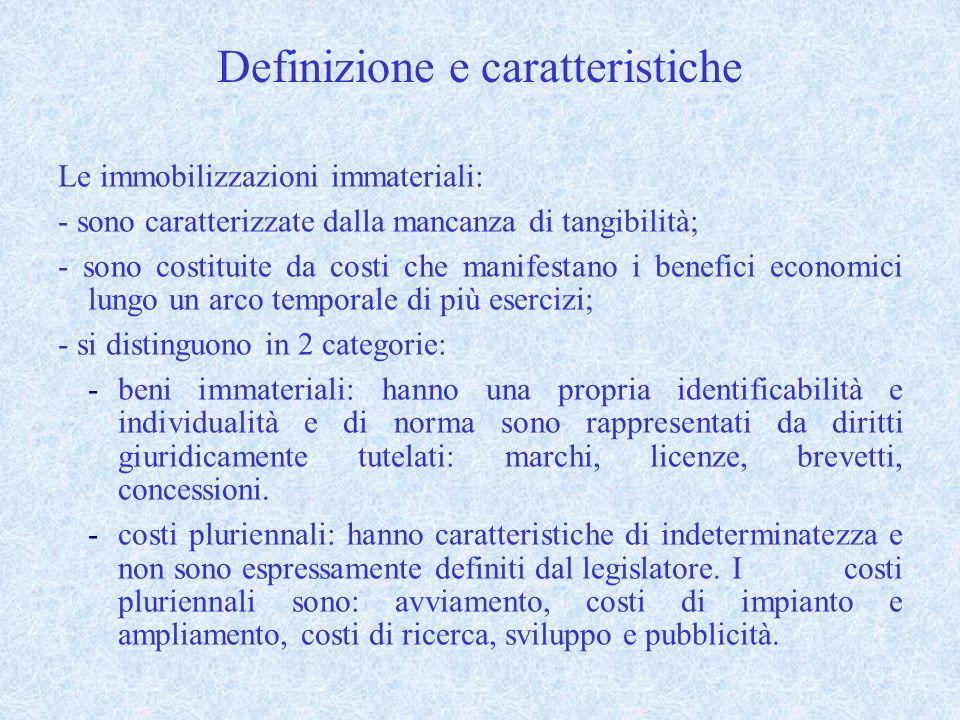Definizione e caratteristiche Le immobilizzazioni immateriali: - sono caratterizzate dalla mancanza di tangibilità; - sono costituite da costi che manifestano i benefici economici lungo un arco temporale di più esercizi; - si distinguono in 2 categorie: -beni immateriali: hanno una propria identificabilità e individualità e di norma sono rappresentati da diritti giuridicamente tutelati: marchi, licenze, brevetti, concessioni.
