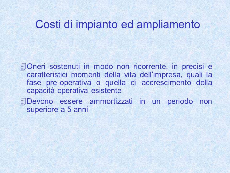 Oneri sostenuti in modo non ricorrente, in precisi e caratteristici momenti della vita dellimpresa, quali la fase pre-operativa o quella di accrescime