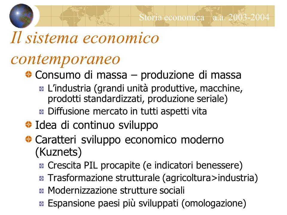 Storia economica a.a. 2003-2004 Il sistema economico contemporaneo Consumo di massa – produzione di massa Lindustria (grandi unità produttive, macchin