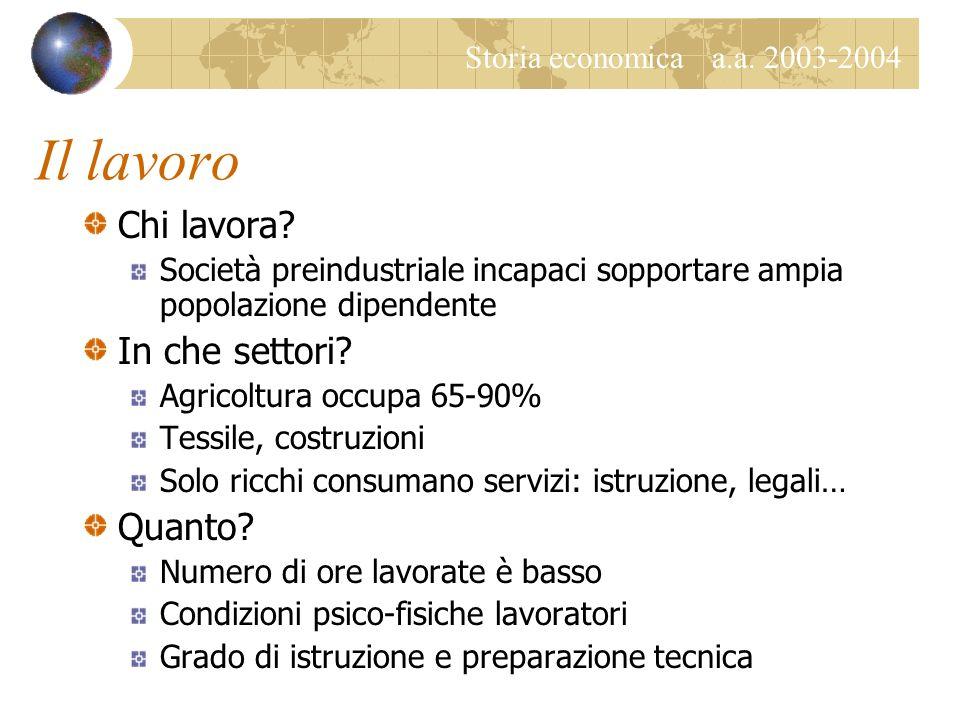 Storia economica a.a. 2003-2004 Il lavoro Chi lavora.