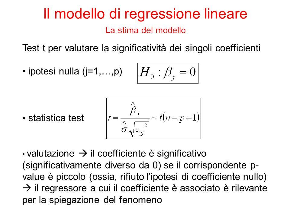 Test t per valutare la significatività dei singoli coefficienti ipotesi nulla (j=1,…,p) valutazione il coefficiente è significativo (significativamente diverso da 0) se il corrispondente p- value è piccolo (ossia, rifiuto lipotesi di coefficiente nullo) il regressore a cui il coefficiente è associato è rilevante per la spiegazione del fenomeno statistica test Il modello di regressione lineare La stima del modello