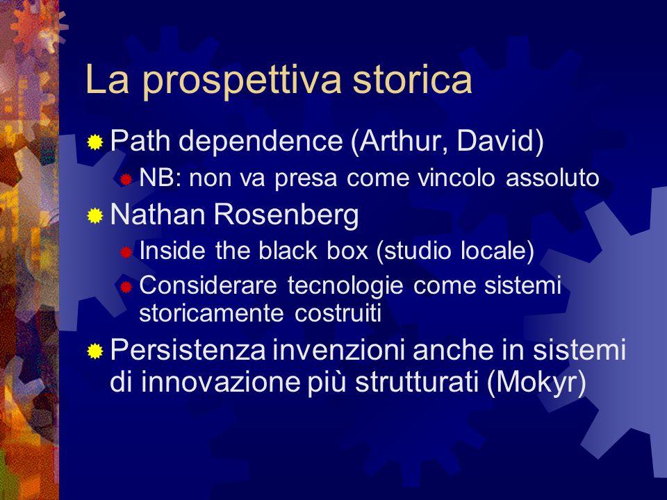 La prospettiva storica Path dependence (Arthur, David) NB: non va presa come vincolo assoluto Nathan Rosenberg Inside the black box (studio locale) Considerare tecnologie come sistemi storicamente costruiti Persistenza invenzioni anche in sistemi di innovazione più strutturati (Mokyr)
