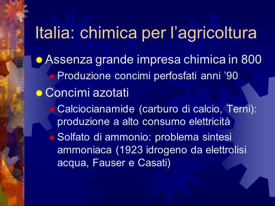Italia: chimica per lagricoltura Assenza grande impresa chimica in 800 Produzione concimi perfosfati anni 90 Concimi azotati Calciocianamide (carburo