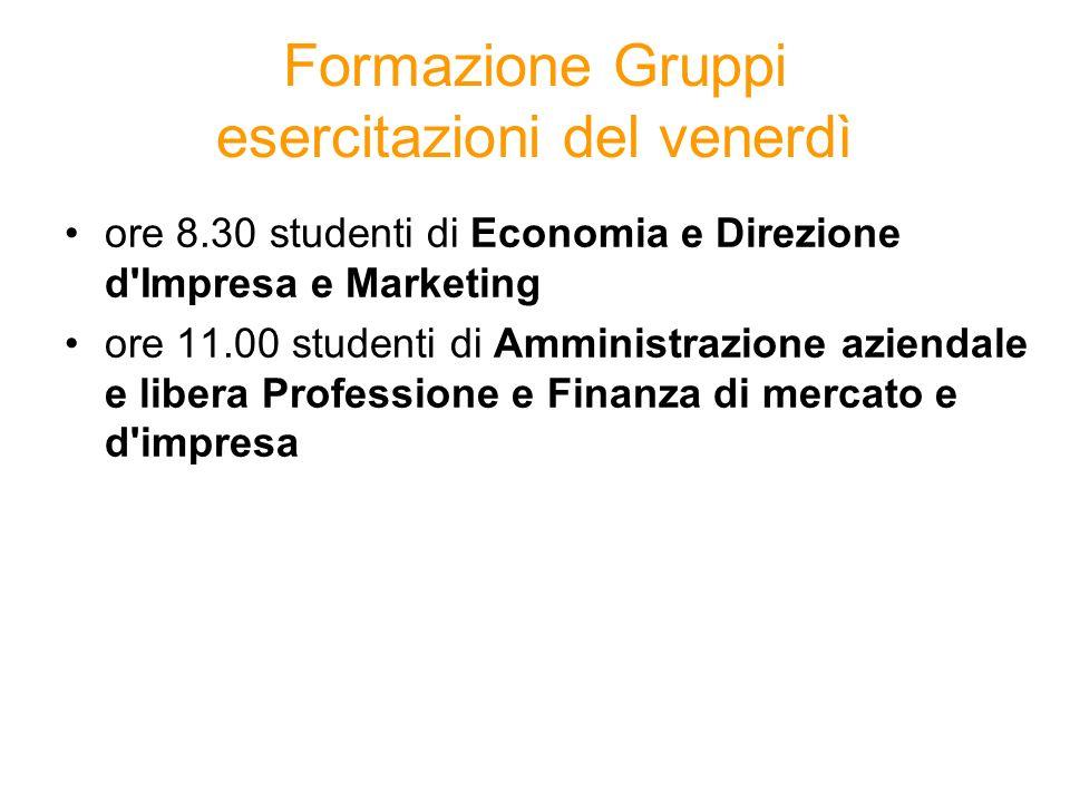 Formazione Gruppi esercitazioni del venerdì ore 8.30 studenti di Economia e Direzione d'Impresa e Marketing ore 11.00 studenti di Amministrazione azie