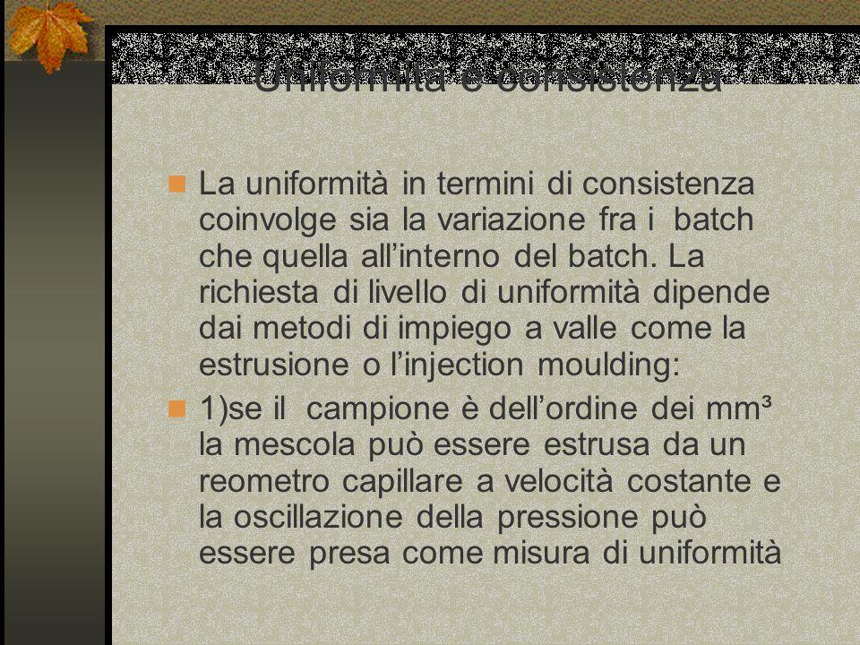 Uniformità e consistenza La uniformità in termini di consistenza coinvolge sia la variazione fra i batch che quella allinterno del batch.
