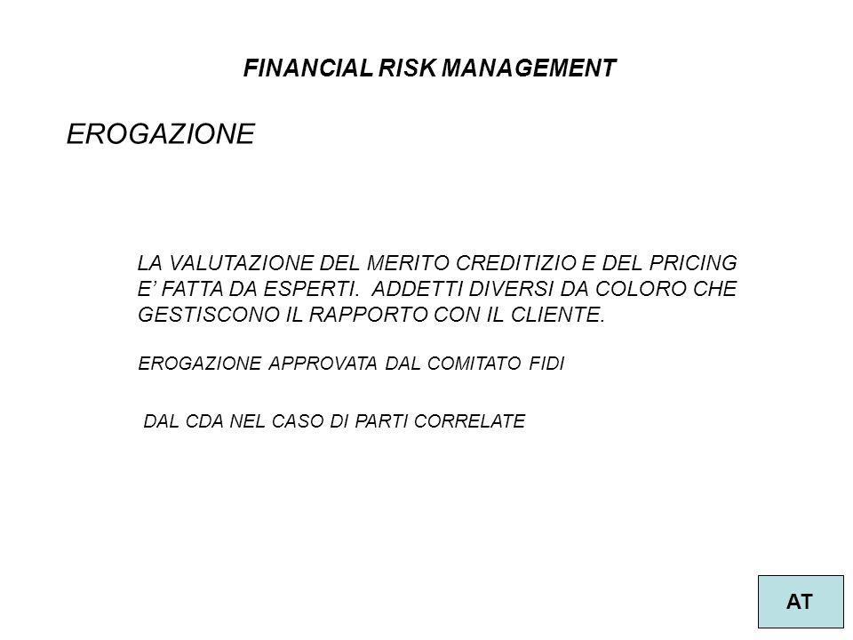 FINANCIAL RISK MANAGEMENT AT EROGAZIONE LA VALUTAZIONE DEL MERITO CREDITIZIO E DEL PRICING E FATTA DA ESPERTI. ADDETTI DIVERSI DA COLORO CHE GESTISCON