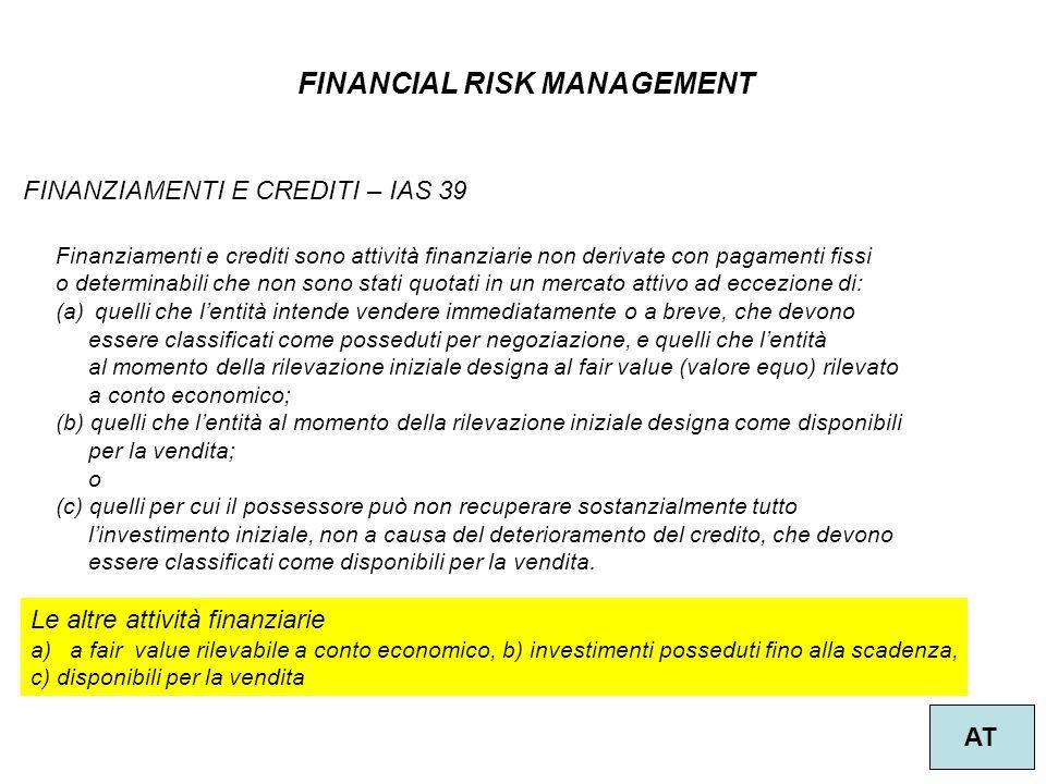 FINANCIAL RISK MANAGEMENT AT FINANZIAMENTI E CREDITI – IAS 39 Finanziamenti e crediti sono attività finanziarie non derivate con pagamenti fissi o det
