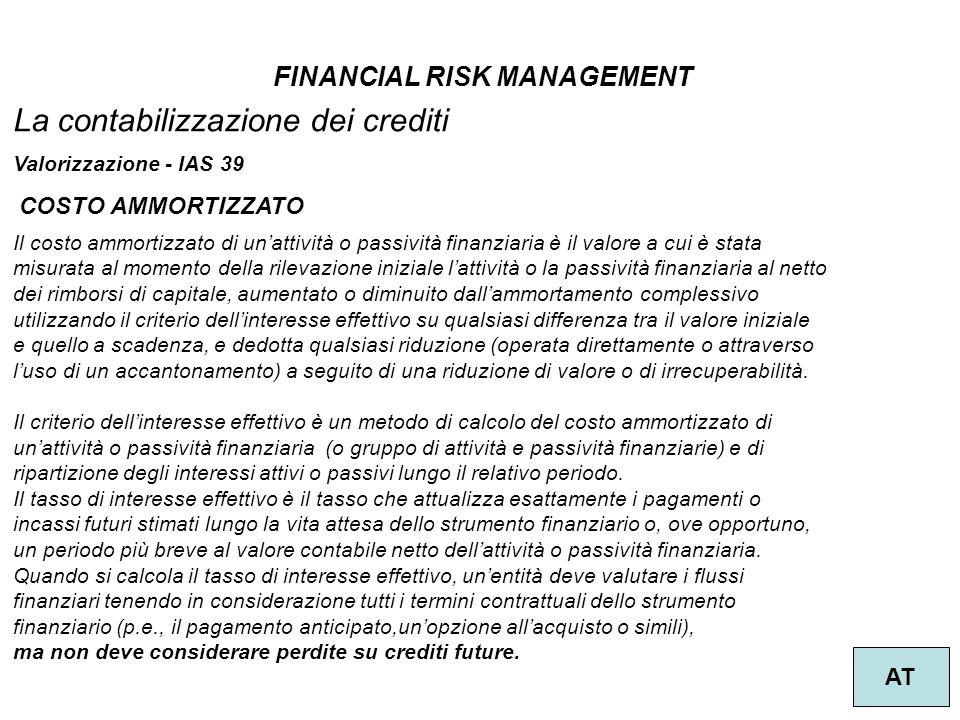FINANCIAL RISK MANAGEMENT AT La contabilizzazione dei crediti Valorizzazione - IAS 39 Il costo ammortizzato di unattività o passività finanziaria è il