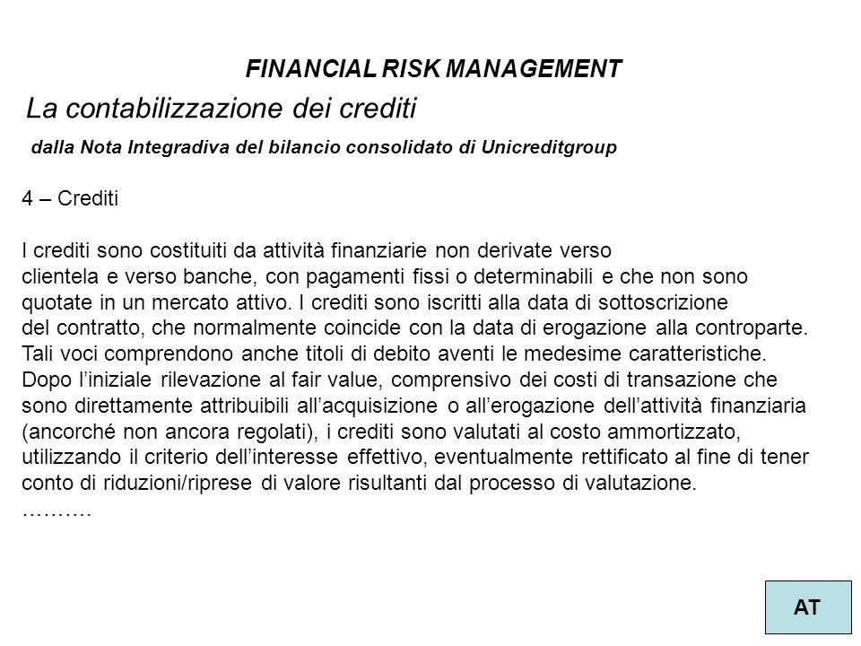 FINANCIAL RISK MANAGEMENT AT La contabilizzazione dei crediti 4 – Crediti I crediti sono costituiti da attività finanziarie non derivate verso cliente