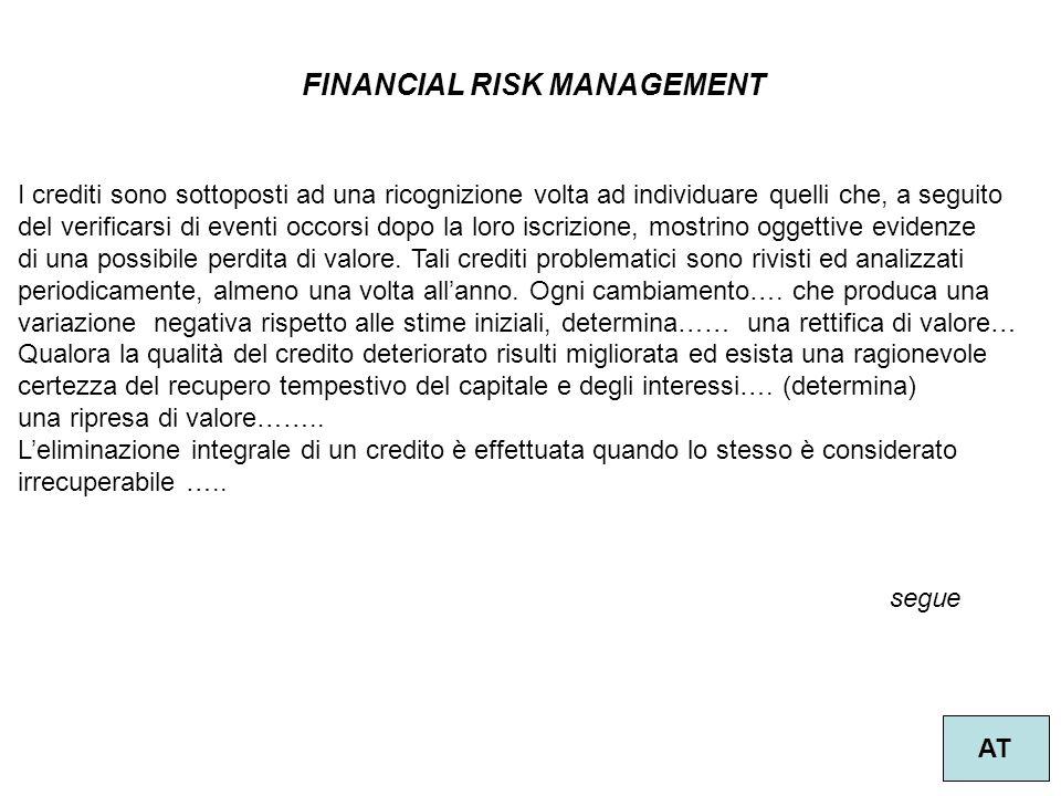 FINANCIAL RISK MANAGEMENT AT I crediti sono sottoposti ad una ricognizione volta ad individuare quelli che, a seguito del verificarsi di eventi occors