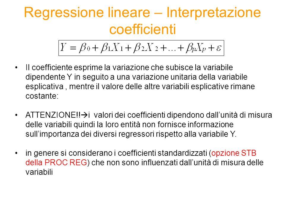 Regressione lineare – Interpretazione coefficienti Il coefficiente esprime la variazione che subisce la variabile dipendente Y in seguito a una variazione unitaria della variabile esplicativa, mentre il valore delle altre variabili esplicative rimane costante: ATTENZIONE!.