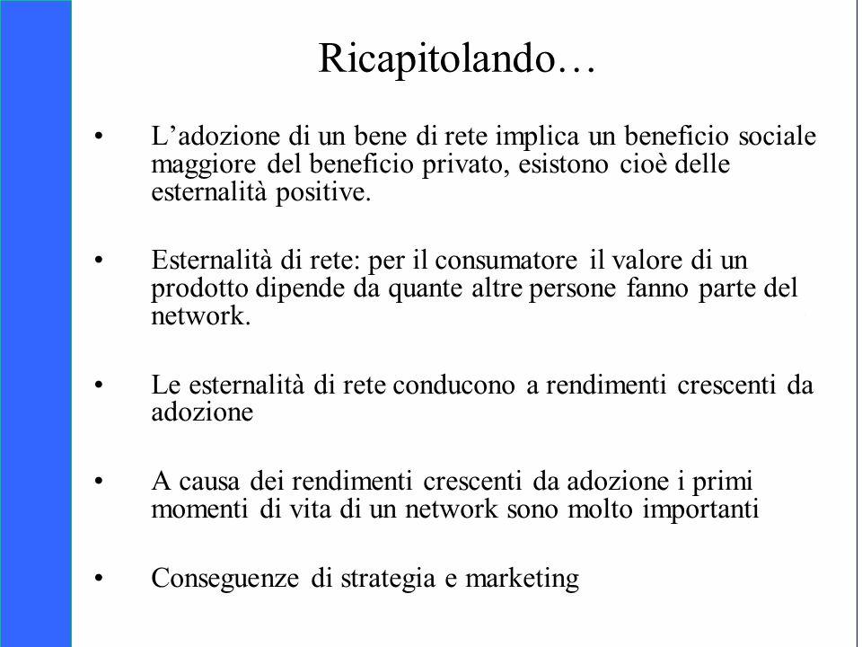 Copyright SDA Bocconi 2005 Competing Technologies, Network Externalities …n 2 Ricapitolando… Ladozione di un bene di rete implica un beneficio sociale