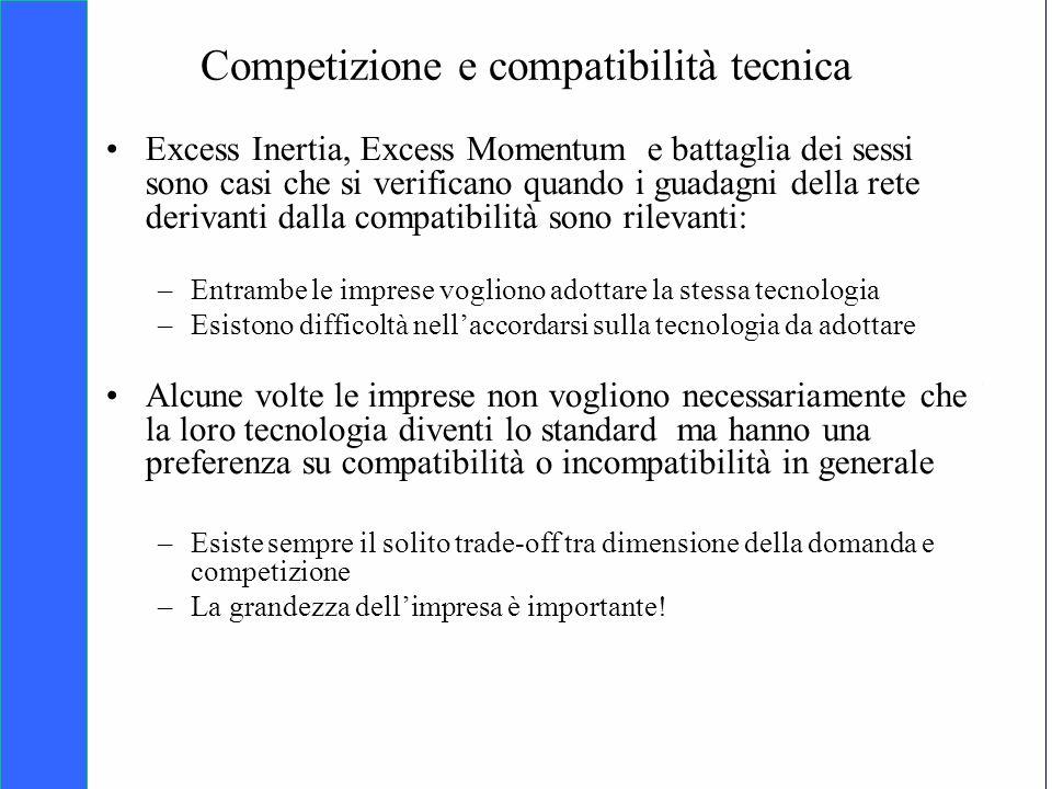 Copyright SDA Bocconi 2005 Competing Technologies, Network Externalities …n 22 Competizione e compatibilità tecnica Excess Inertia, Excess Momentum e