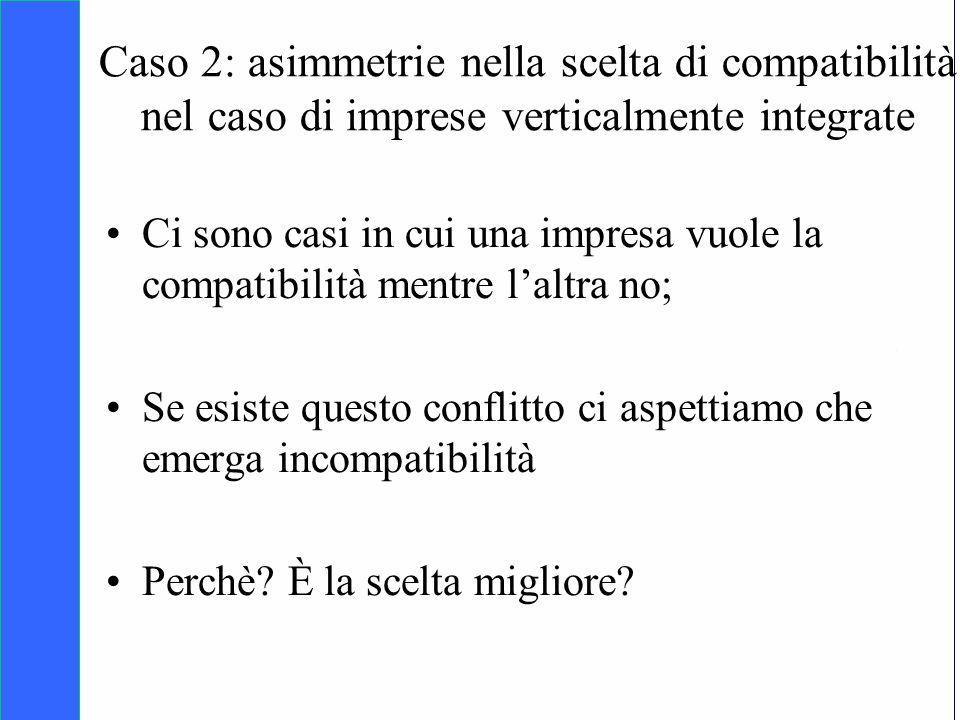 Copyright SDA Bocconi 2005 Competing Technologies, Network Externalities …n 26 Caso 2: asimmetrie nella scelta di compatibilità nel caso di imprese ve
